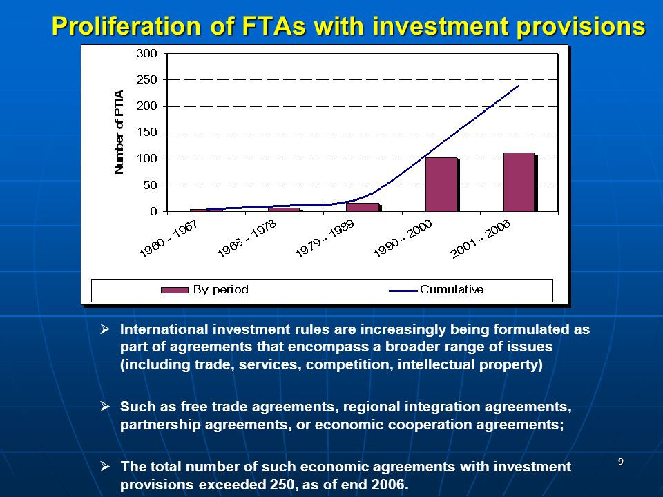 9 Proliferation of FTAs with investment provisions   International investment rules are increasingly being formulated as part of agreements that enc