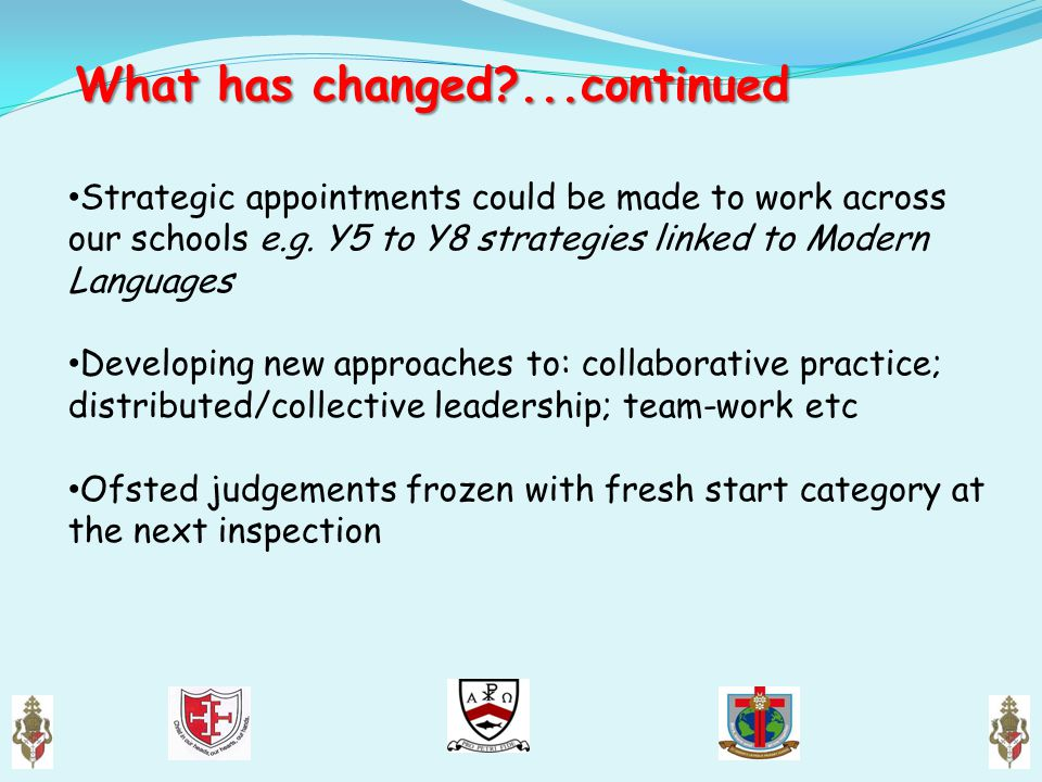 What has changed?...continued What has changed?...continued Strategic appointments could be made to work across our schools e.g. Y5 to Y8 strategies l
