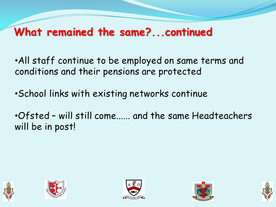 What remained the same?...continued All staff continue to be employed on same terms and conditions and their pensions are protected School links with