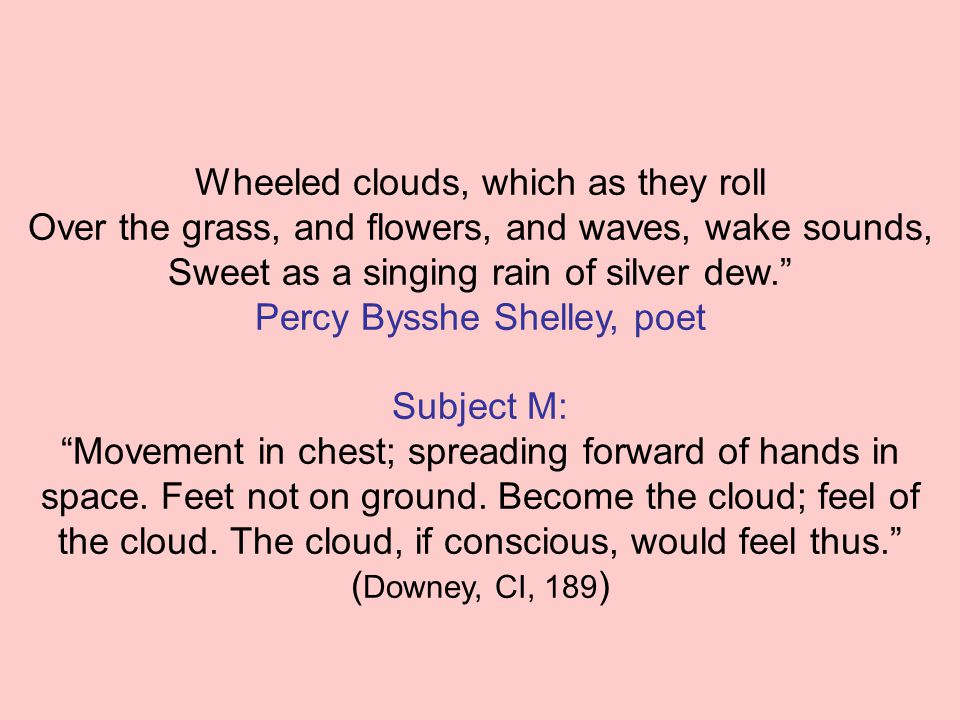 Wheeled clouds, which as they roll Over the grass, and flowers, and waves, wake sounds, Sweet as a singing rain of silver dew. Percy Bysshe Shelley, poet Subject M: Movement in chest; spreading forward of hands in space.