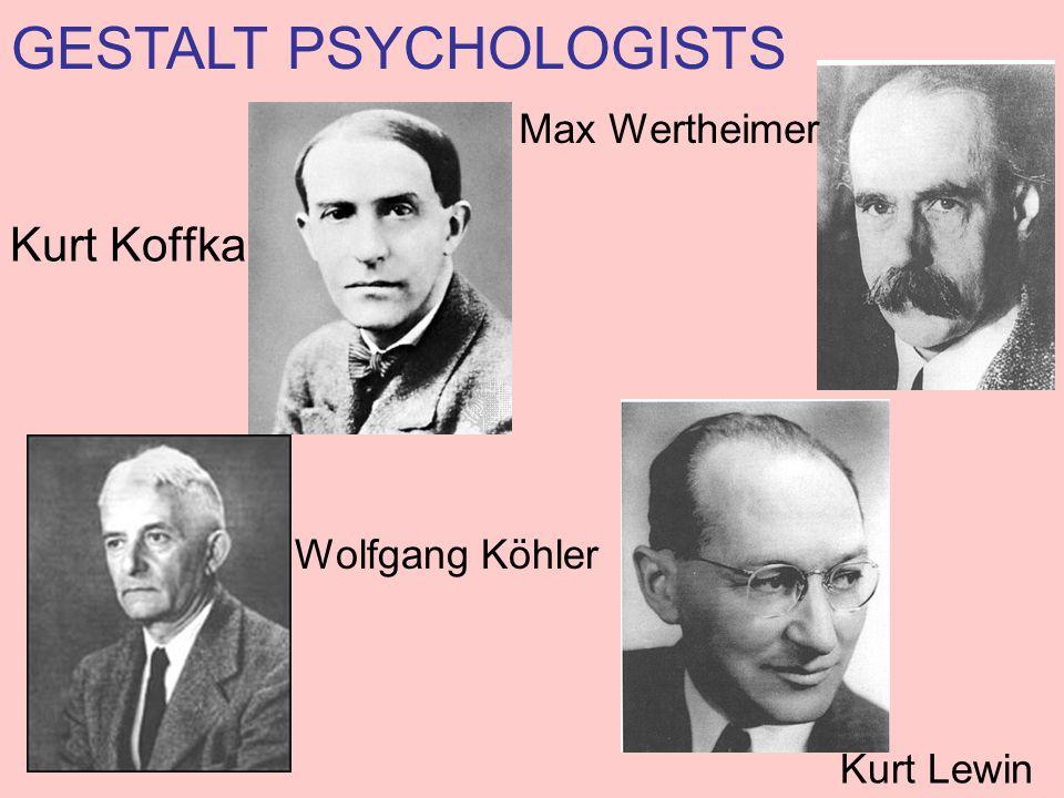 Kurt Koffka Max Wertheimer Wolfgang Köhler Kurt Lewin GESTALT PSYCHOLOGISTS