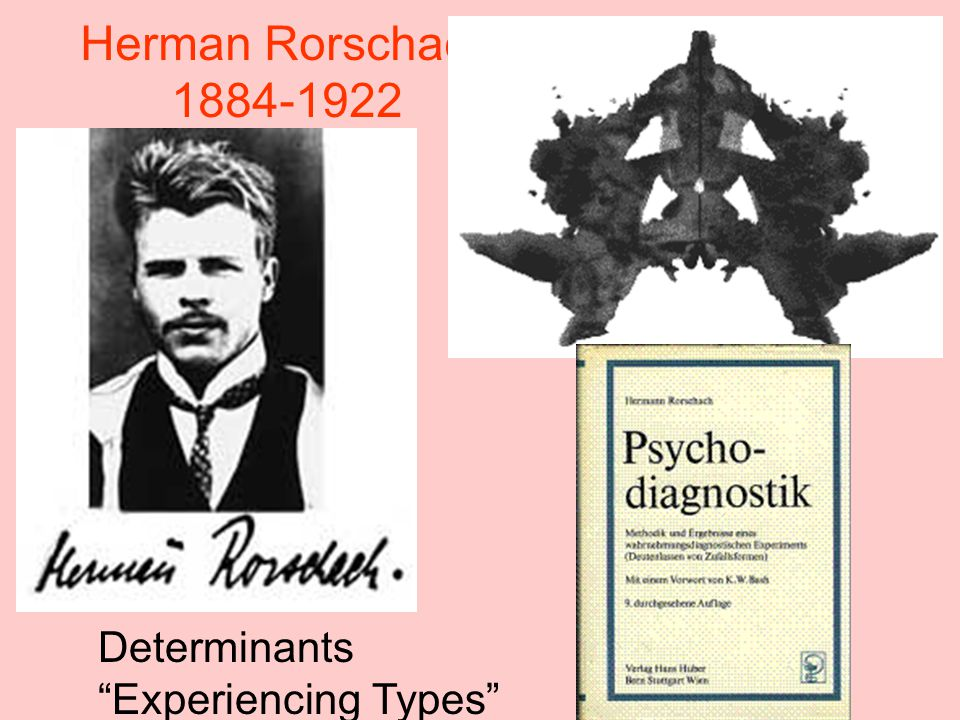 Herman Rorschach 1884-1922 Determinants Experiencing Types