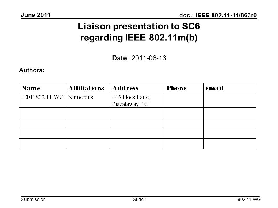 doc.: IEEE 802.11-11/863r0 Submission June 2011 802.11 WG Slide 1 Liaison presentation to SC6 regarding IEEE 802.11m(b) Date: 2011-06-13 Authors: