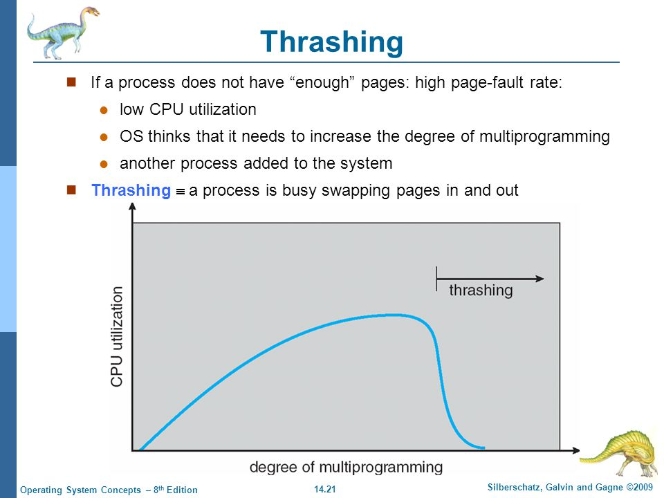 14.21 Silberschatz, Galvin and Gagne ©2009 Operating System Concepts – 8 th Edition Thrashing If a process does not have enough pages: high page-fault rate: low CPU utilization OS thinks that it needs to increase the degree of multiprogramming another process added to the system Thrashing  a process is busy swapping pages in and out