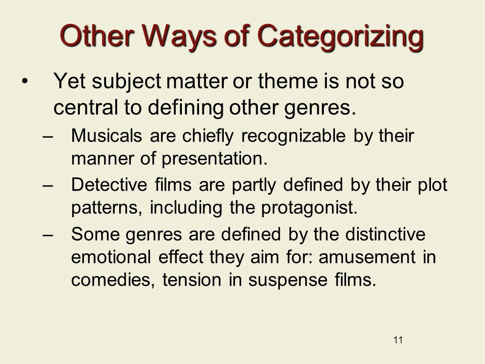 11 Other Ways of Categorizing Yet subject matter or theme is not so central to defining other genres.