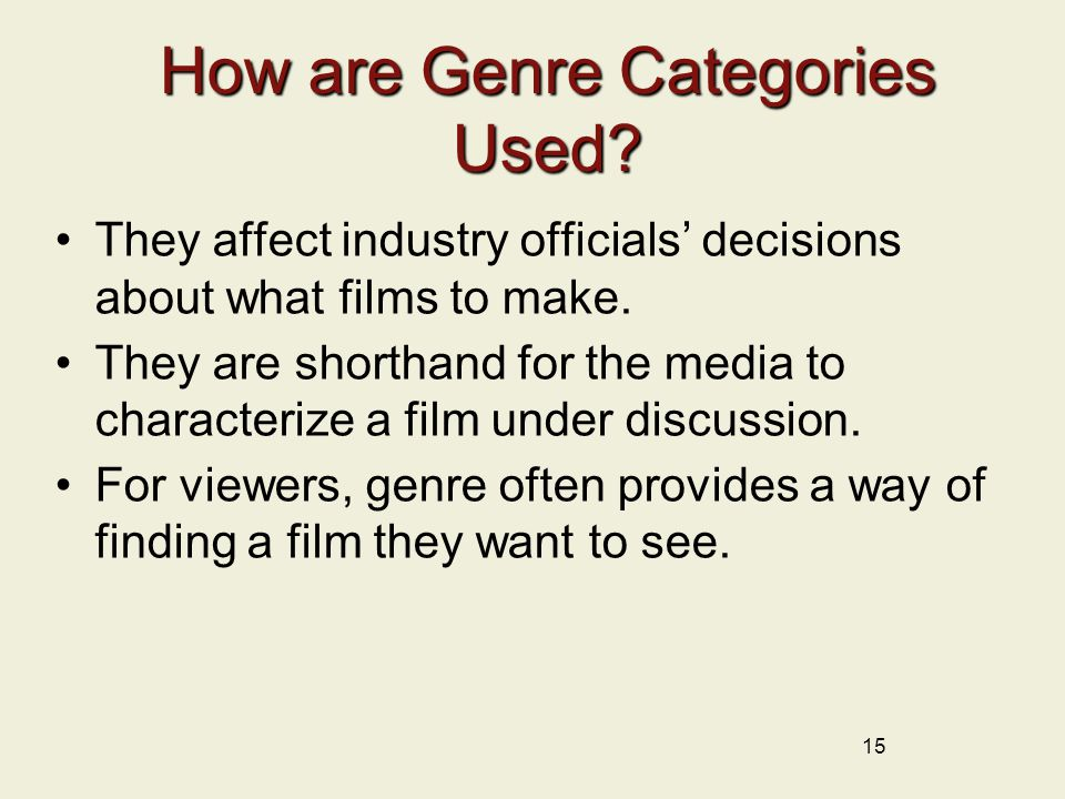 15 How are Genre Categories Used.