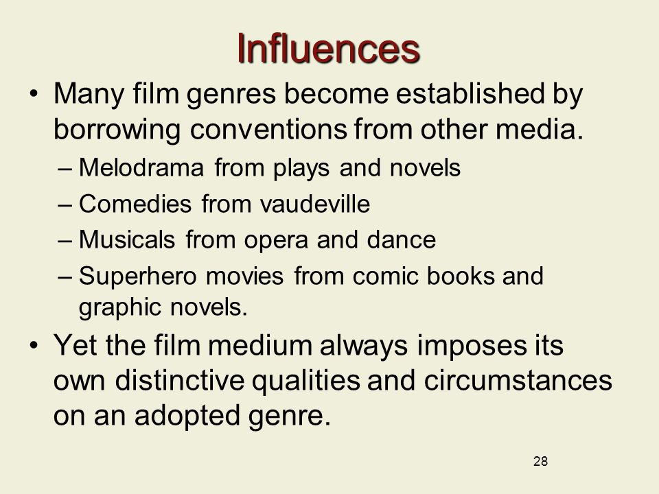 28 Influences Many film genres become established by borrowing conventions from other media.