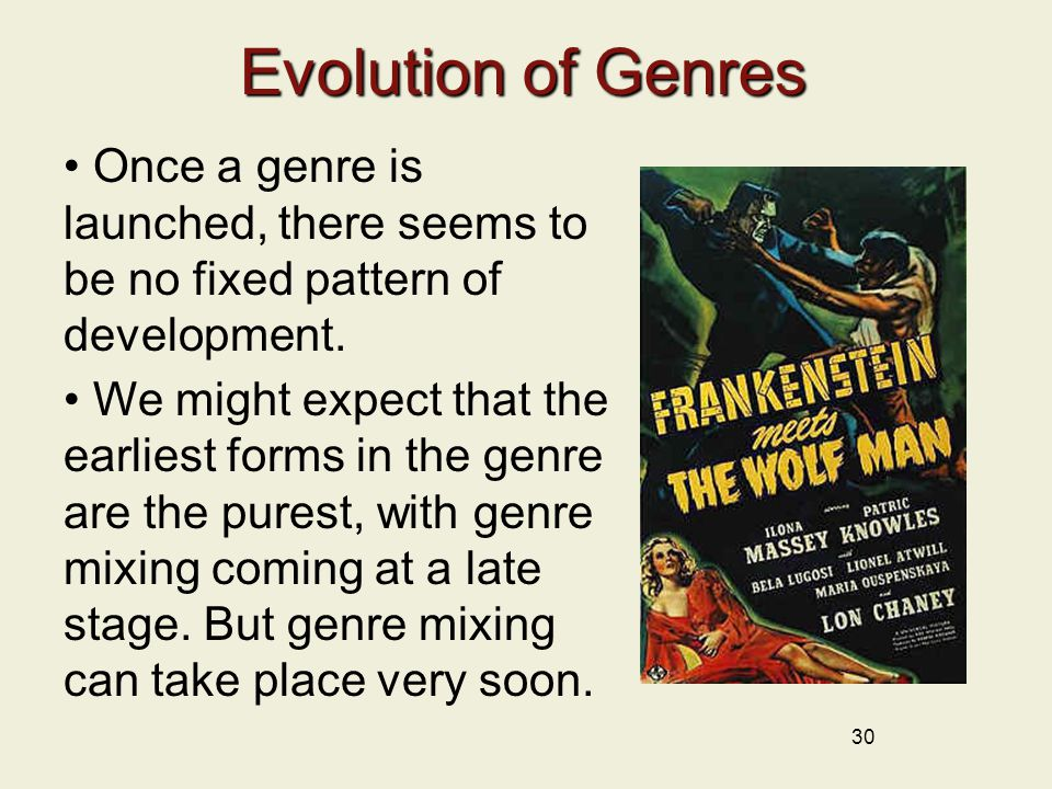 30 Evolution of Genres Once a genre is launched, there seems to be no fixed pattern of development.