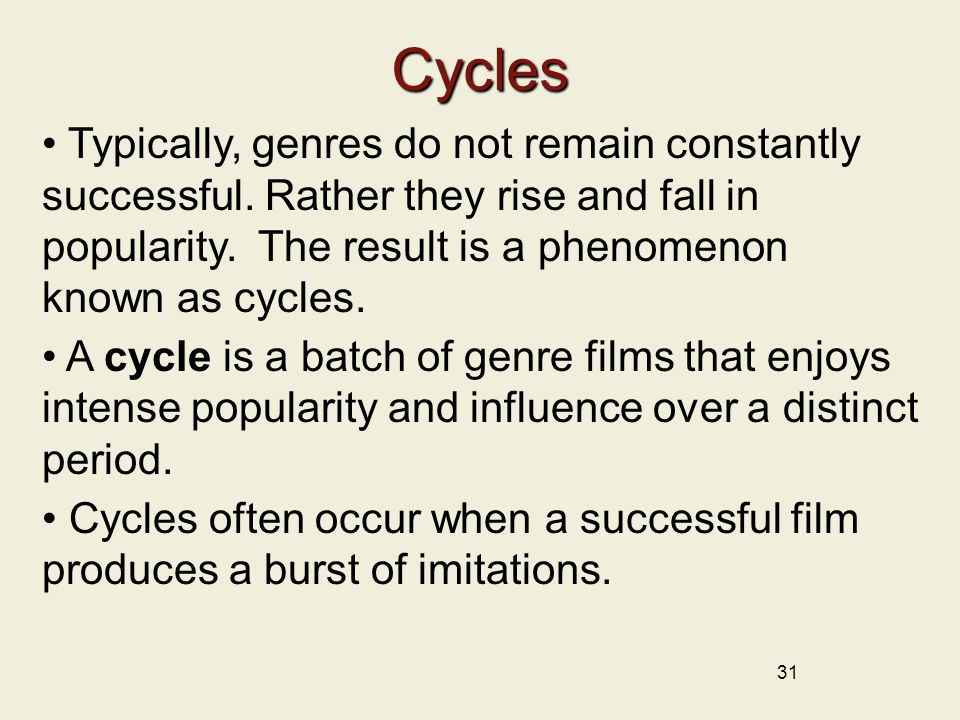 31 Cycles Typically, genres do not remain constantly successful.