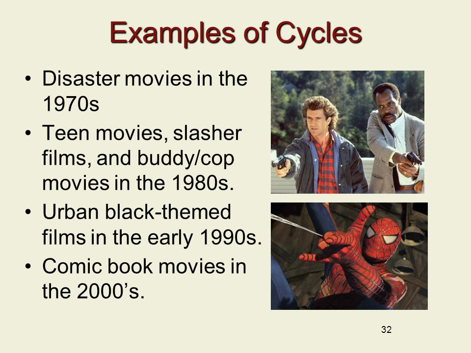 32 Examples of Cycles Disaster movies in the 1970s Teen movies, slasher films, and buddy/cop movies in the 1980s.