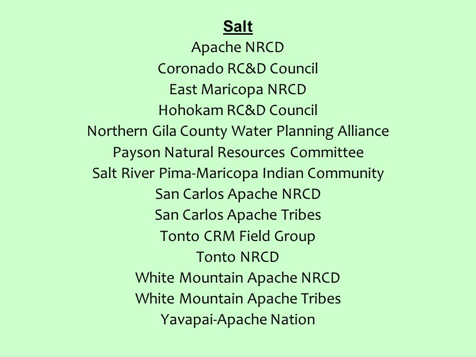 Salt Apache NRCD Coronado RC&D Council East Maricopa NRCD Hohokam RC&D Council Northern Gila County Water Planning Alliance Payson Natural Resources Committee Salt River Pima-Maricopa Indian Community San Carlos Apache NRCD San Carlos Apache Tribes Tonto CRM Field Group Tonto NRCD White Mountain Apache NRCD White Mountain Apache Tribes Yavapai-Apache Nation