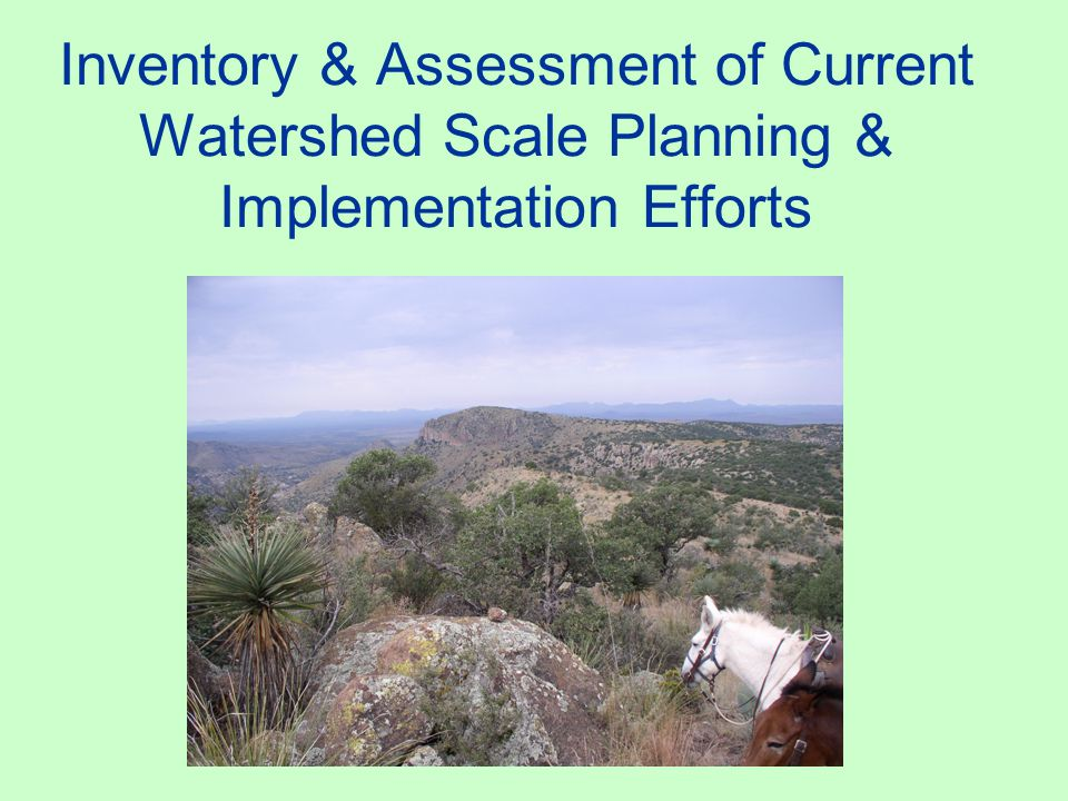 Inventory & Assessment of Current Watershed Scale Planning & Implementation Efforts