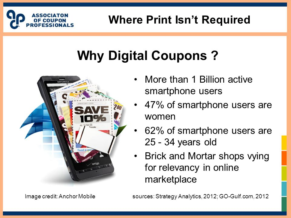 Where Print Isn't Required More than 1 Billion active smartphone users 47% of smartphone users are women 62% of smartphone users are 25 - 34 years old Brick and Mortar shops vying for relevancy in online marketplace Image credit: Anchor Mobile sources: Strategy Analytics, 2012; GO-Gulf.com, 2012 Why Digital Coupons
