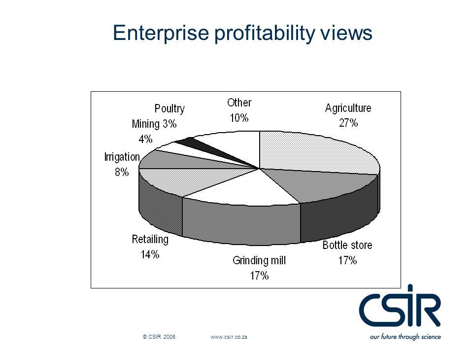 © CSIR 2006 www.csir.co.za Enterprise profitability views