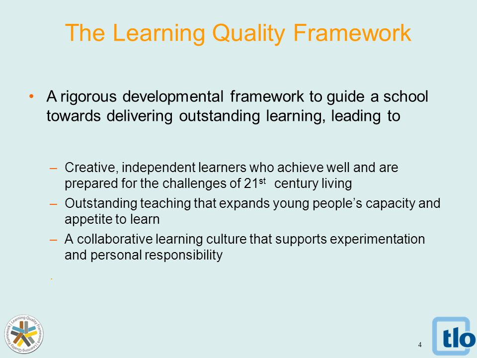 The Learning Quality Framework A rigorous developmental framework to guide a school towards delivering outstanding learning, leading to –Creative, independent learners who achieve well and are prepared for the challenges of 21 st century living –Outstanding teaching that expands young people's capacity and appetite to learn –A collaborative learning culture that supports experimentation and personal responsibility.
