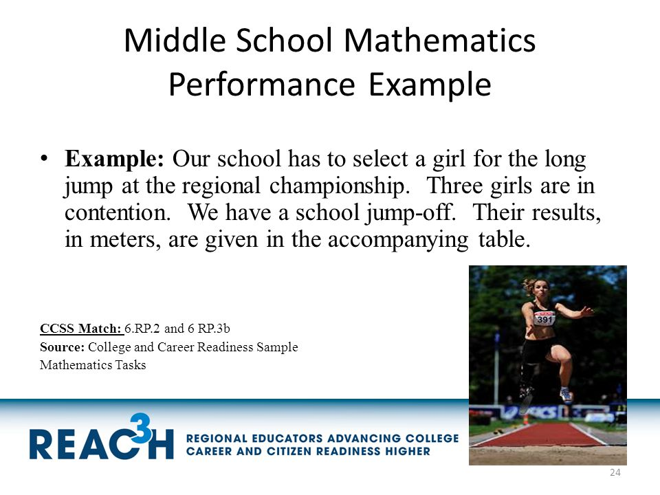 Middle School Mathematics Performance Example Example: Our school has to select a girl for the long jump at the regional championship. Three girls are
