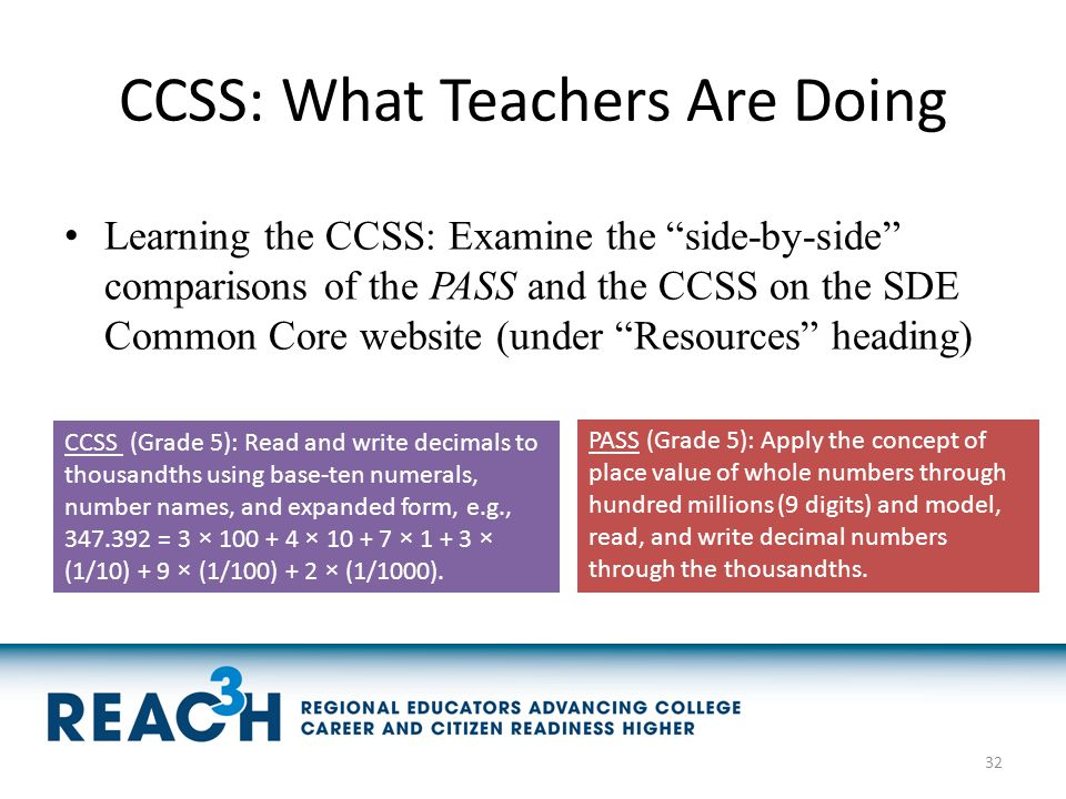 "CCSS: What Teachers Are Doing Learning the CCSS: Examine the ""side-by-side"" comparisons of the PASS and the CCSS on the SDE Common Core website (under"