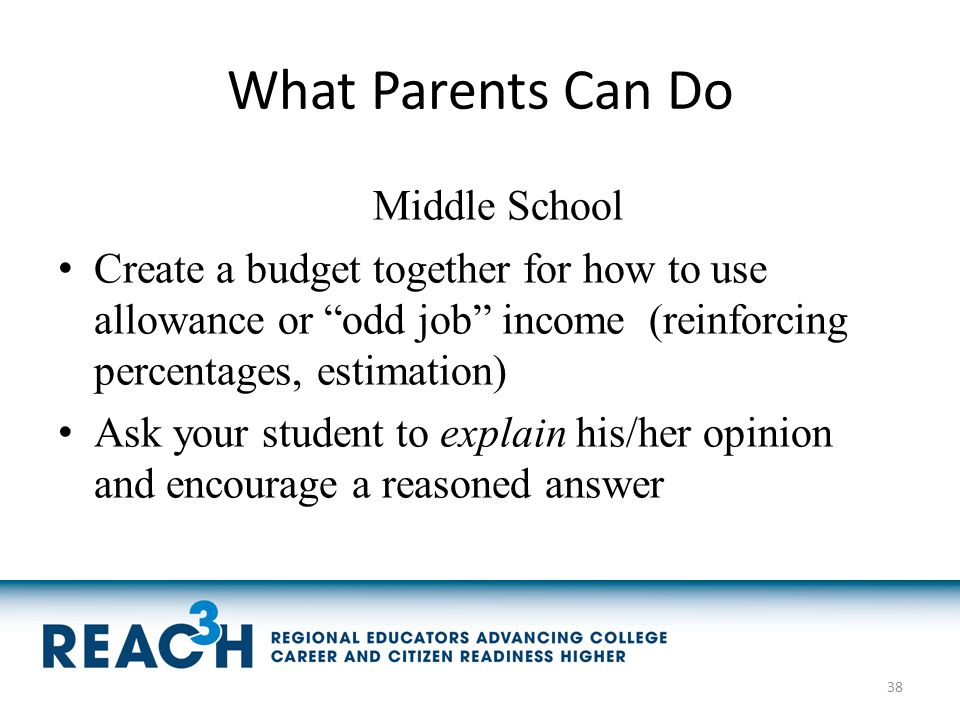 "What Parents Can Do Middle School Create a budget together for how to use allowance or ""odd job"" income (reinforcing percentages, estimation) Ask your"
