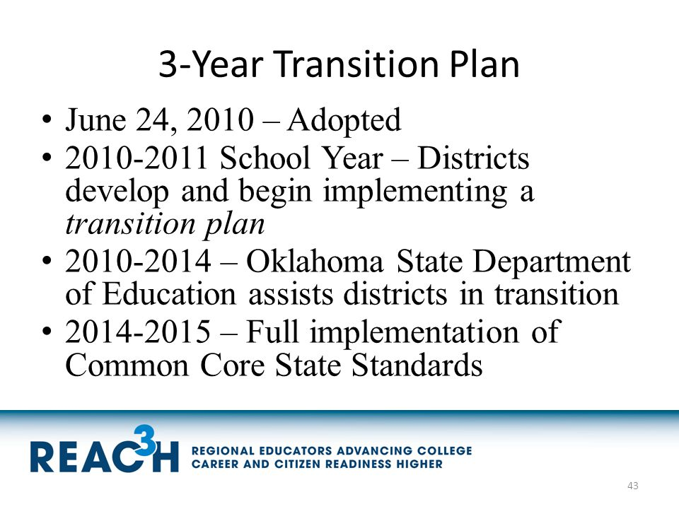 3-Year Transition Plan June 24, 2010 – Adopted 2010-2011 School Year – Districts develop and begin implementing a transition plan 2010-2014 – Oklahoma