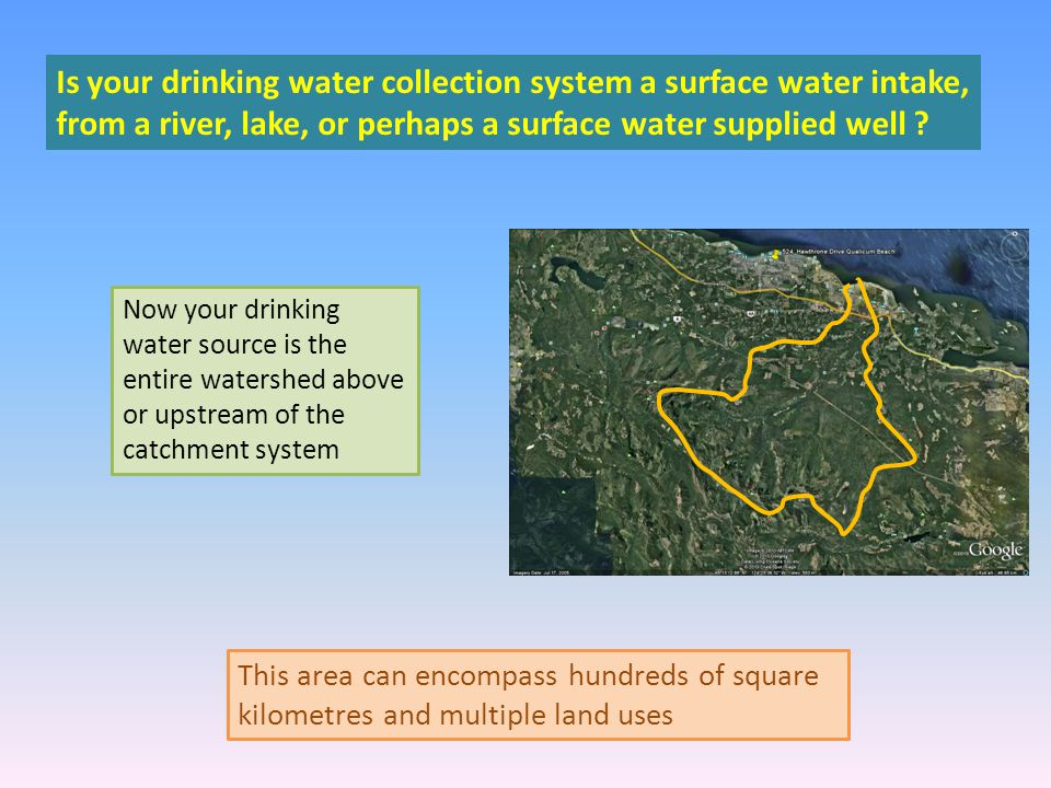 Is your drinking water collection system a surface water intake, from a river, lake, or perhaps a surface water supplied well .