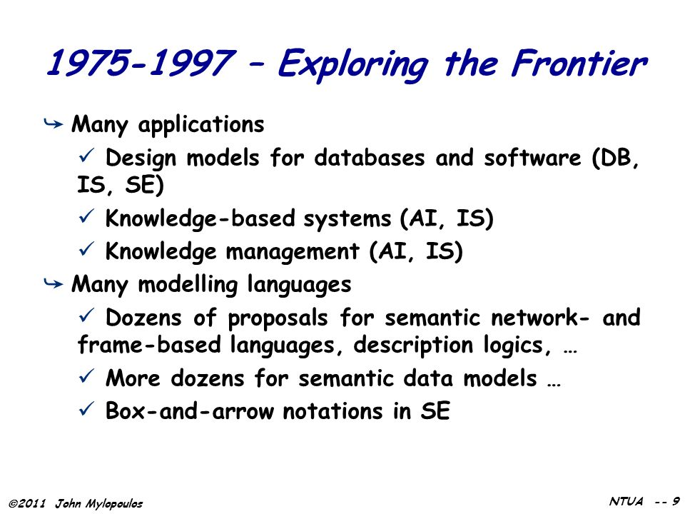  2011 John Mylopoulos NTUA -- 9 1975-1997 – Exploring the Frontier ➥ Many applications Design models for databases and software (DB, IS, SE) Knowledge-based systems (AI, IS) Knowledge management (AI, IS) ➥ Many modelling languages Dozens of proposals for semantic network- and frame-based languages, description logics, … More dozens for semantic data models … Box-and-arrow notations in SE