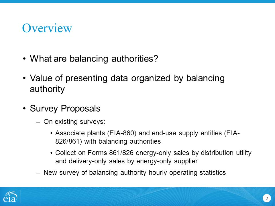 Overview 2 What are balancing authorities? Value of presenting data organized by balancing authority Survey Proposals –On existing surveys: Associate