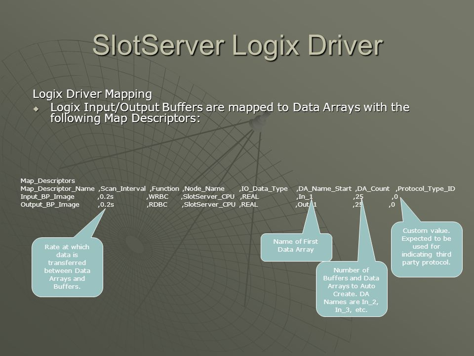 SlotServer Logix Driver Logix Driver Mapping  Logix Input/Output Buffers are mapped to Data Arrays with the following Map Descriptors: Map_Descriptor
