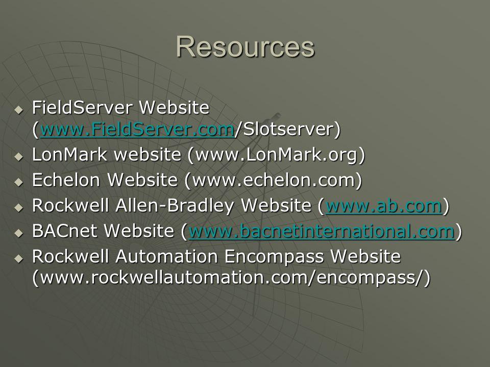 Resources  FieldServer Website (www.FieldServer.com/Slotserver) www.FieldServer.com  LonMark website (www.LonMark.org)  Echelon Website (www.echelo