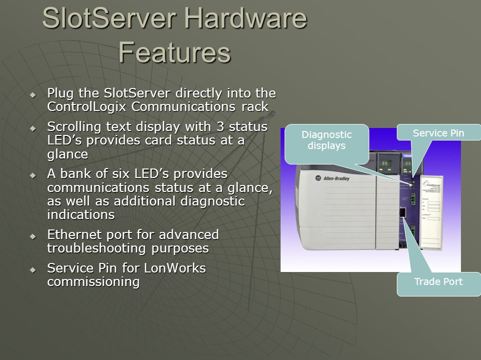 SlotServer Hardware Features  Plug the SlotServer directly into the ControlLogix Communications rack  Scrolling text display with 3 status LED's pro