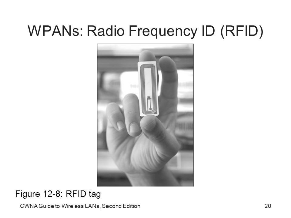 CWNA Guide to Wireless LANs, Second Edition20 WPANs: Radio Frequency ID (RFID) Figure 12-8: RFID tag