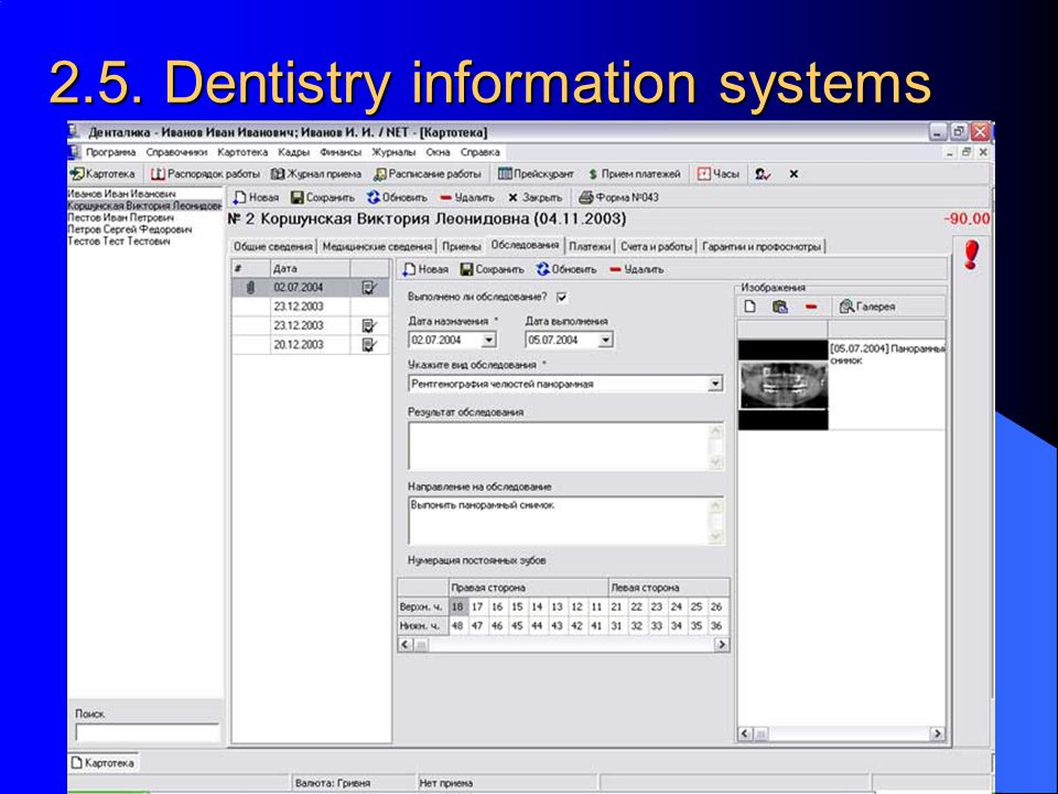 2.5. Dentistry information systems