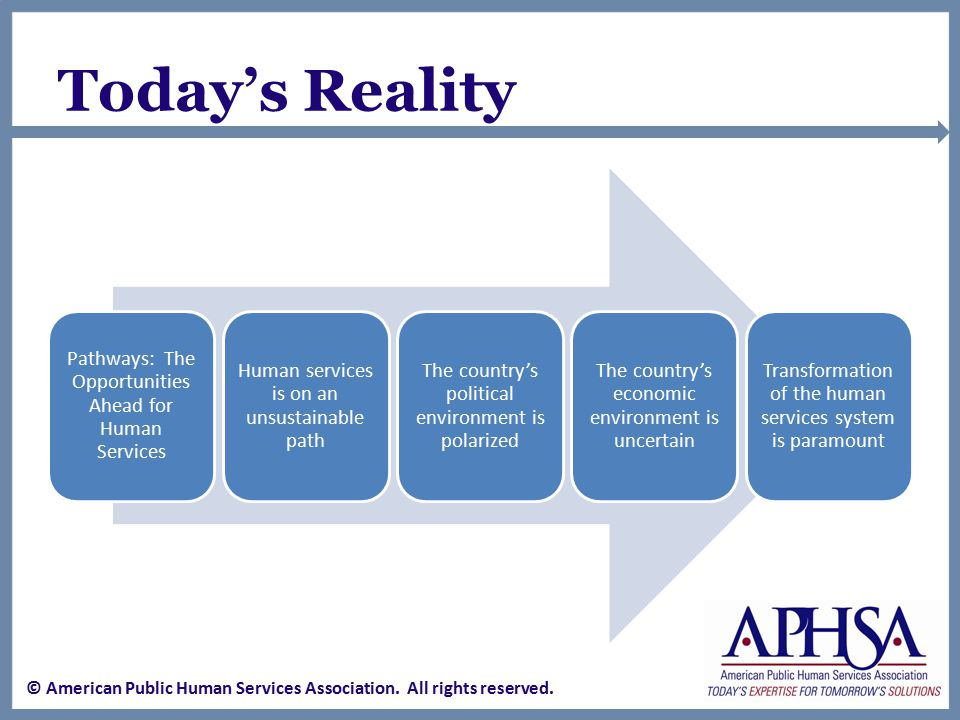Our Abilities and Resources Improved extensive internal quality improvement processes Cross-jurisdictional collaboration efforts Effective leveraging of community resources Improved workforce knowledge Participation in local decision-making that impacts human services Increased public support for preventive investments © American Public Human Services Association.