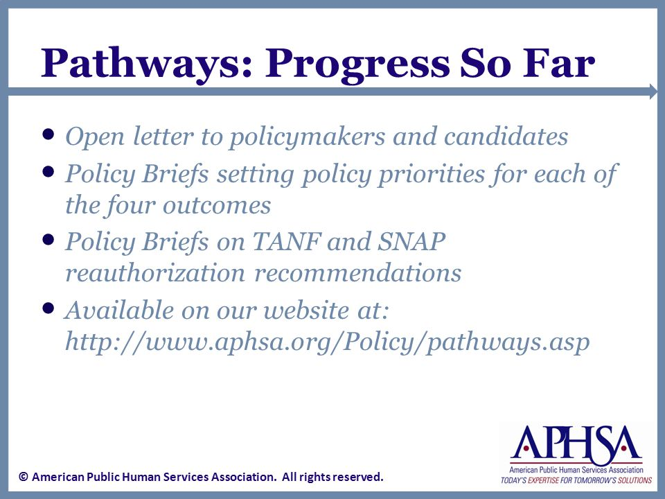 Policy Priorities Employment supports, economic development, employer incentives Accountability measures for appropriate outcomes Collaboration within agencies and participation with community stakeholders, coupled with strong family engagement Broad supports for employment for people with disabilities Local, community-level needs must be recognized Horizontal integration and no-wrong-door access Prevention and early intervention … over the lifespan Nutritious food/healthy choices in an integrated context Integrated, interoperable systems … holistic, client-centered Increased innovations through waivers and pilots Research on evidence-based and evidence-informed practices Accountability must incentivize positive performance and continuous improvement © American Public Human Services Association.