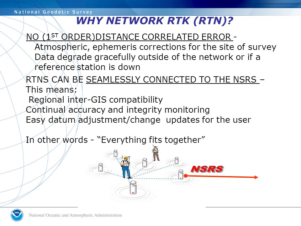 WHY NETWORK RTK (RTN)? NO (1 ST ORDER)DISTANCE CORRELATED ERROR - Atmospheric, ephemeris corrections for the site of survey Data degrade gracefully ou