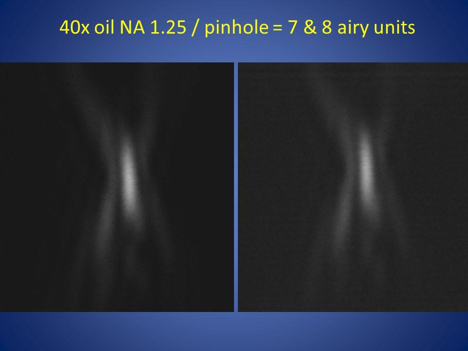 40x oil NA 1.25 / pinhole = 7 & 8 airy units