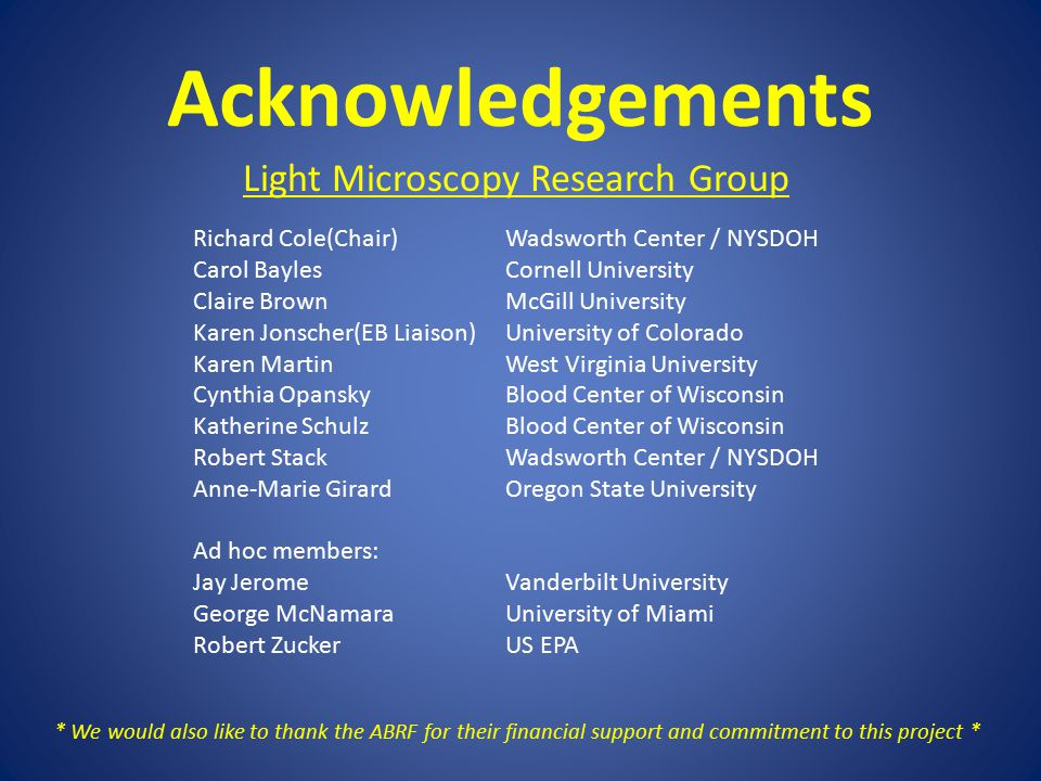 Acknowledgements Light Microscopy Research Group Richard Cole(Chair)Wadsworth Center / NYSDOH Carol BaylesCornell University Claire BrownMcGill University Karen Jonscher(EB Liaison)University of Colorado Karen MartinWest Virginia University Cynthia OpanskyBlood Center of Wisconsin Katherine SchulzBlood Center of Wisconsin Robert StackWadsworth Center / NYSDOH Anne-Marie GirardOregon State University Ad hoc members: Jay JeromeVanderbilt University George McNamaraUniversity of Miami Robert ZuckerUS EPA * We would also like to thank the ABRF for their financial support and commitment to this project *