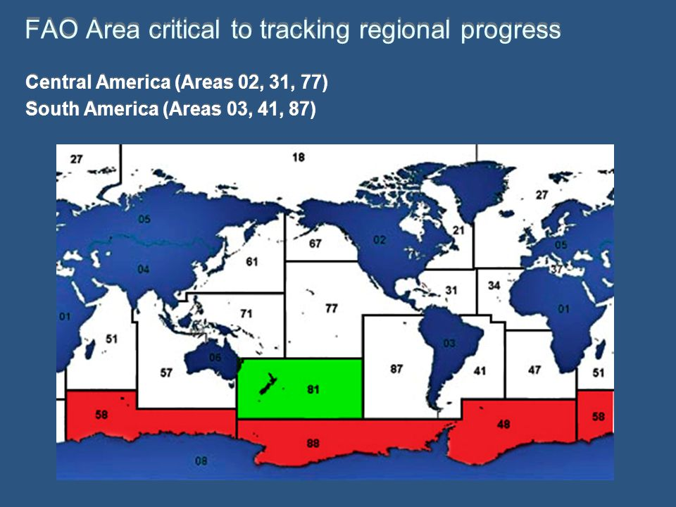 FAO Area critical to tracking regional progress Central America (Areas 02, 31, 77) South America (Areas 03, 41, 87) Central America (Areas 02, 31, 77) South America (Areas 03, 41, 87)