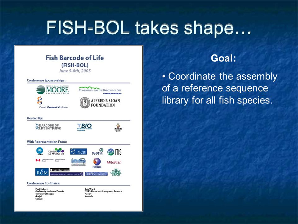 FISH-BOL takes shape… Goal: Coordinate the assembly of a reference sequence library for all fish species.
