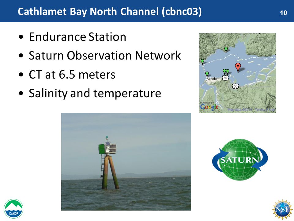 10 Cathlamet Bay North Channel (cbnc03) Endurance Station Saturn Observation Network CT at 6.5 meters Salinity and temperature