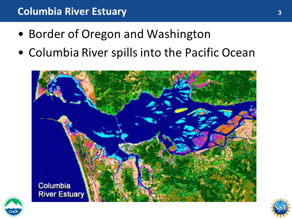 3 Columbia River Estuary Border of Oregon and Washington Columbia River spills into the Pacific Ocean