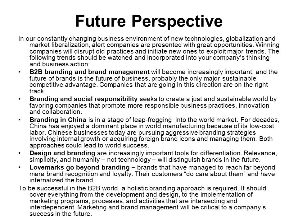 Future Perspective In our constantly changing business environment of new technologies, globalization and market liberalization, alert companies are p