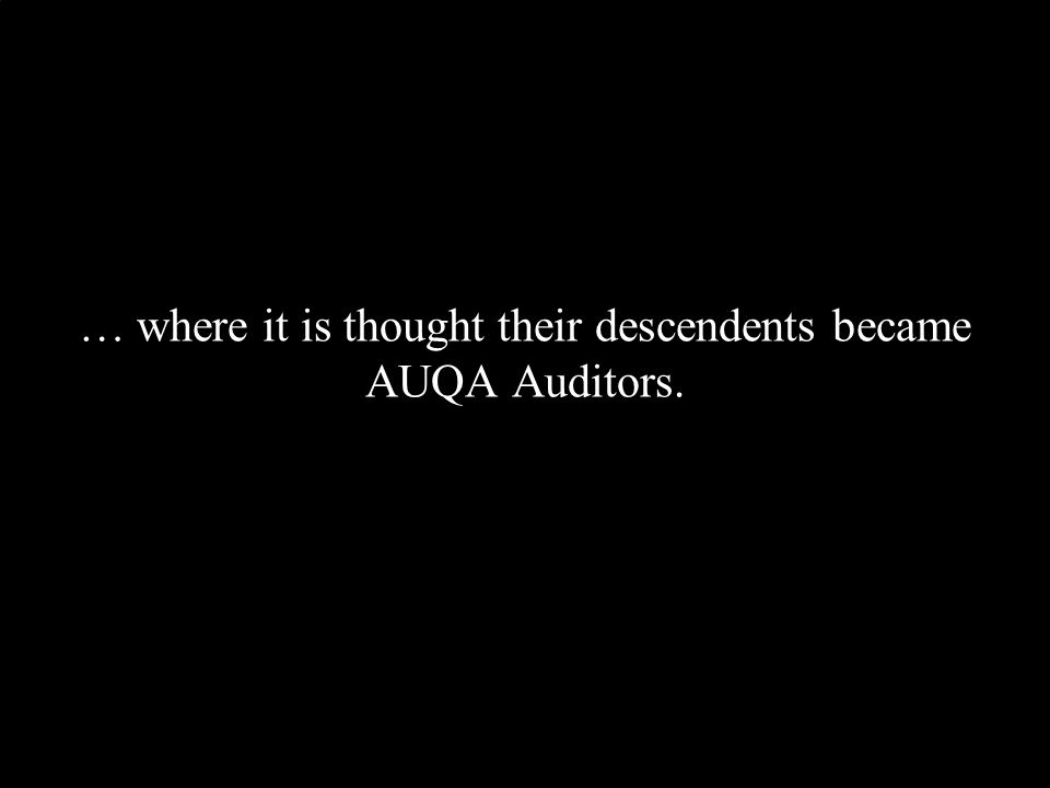 … where it is thought their descendents became AUQA Auditors.