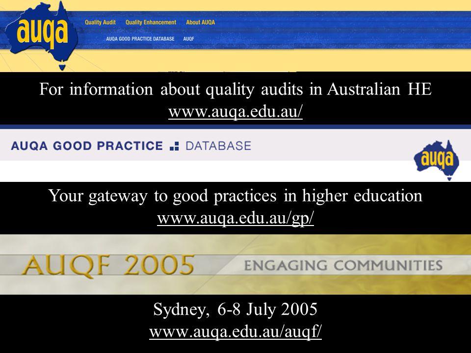 Sydney, 6-8 July 2005 www.auqa.edu.au/auqf/ www.auqa.edu.au/auqf/ Your gateway to good practices in higher education www.auqa.edu.au/gp/ www.auqa.edu.au/gp/ For information about quality audits in Australian HE www.auqa.edu.au/ www.auqa.edu.au/