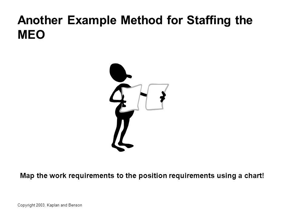 Copyright 2003, Kaplan and Benson Another Example Method for Staffing the MEO Map the work requirements to the position requirements using a chart!