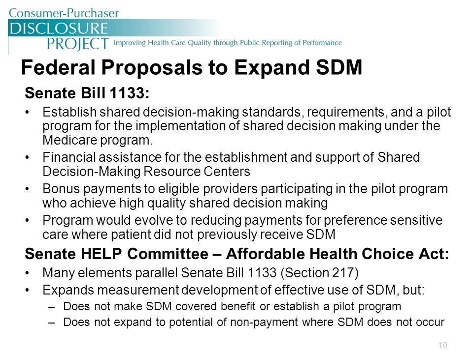 10 Federal Proposals to Expand SDM Senate Bill 1133: Establish shared decision-making standards, requirements, and a pilot program for the implementation of shared decision making under the Medicare program.