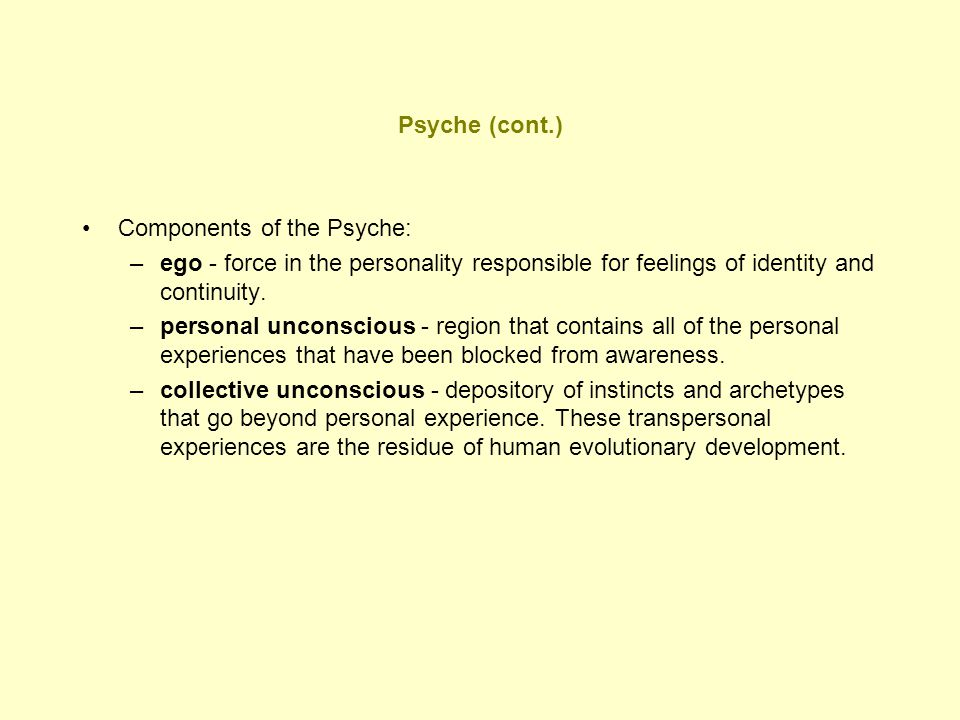 Psyche (cont.) Components of the Psyche: –ego - force in the personality responsible for feelings of identity and continuity. –personal unconscious -