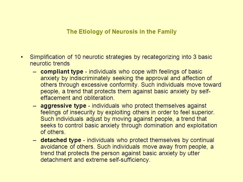 The Etiology of Neurosis in the Family Simplification of 10 neurotic strategies by recategorizing into 3 basic neurotic trends –compliant type - indiv