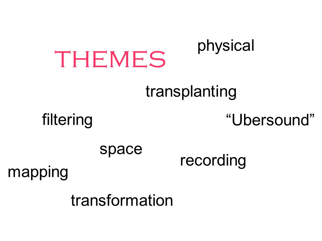 themes filtering transplanting recording physical transformation Ubersound mapping space