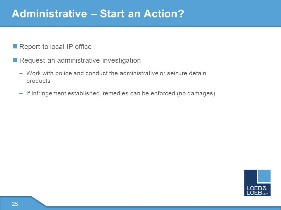 25 Administrative – Start an Action.
