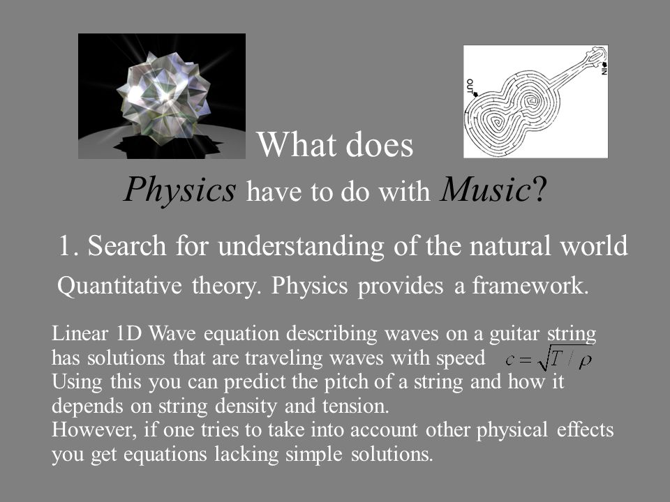 Linear 1D Wave equation describing waves on a guitar string has solutions that are traveling waves with speed Using this you can predict the pitch of a string and how it depends on string density and tension.